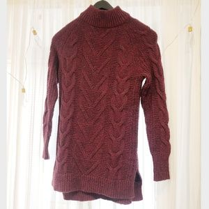 Maroon Tall Mock Neck Long Sleeve Sweater Dress
